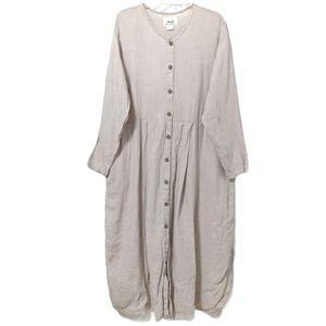 Flax Linen Button Down Dress Taupe Midi Sleeve L